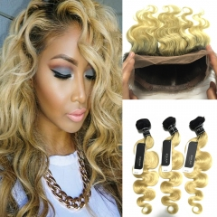 BQ HAIR Grade 8A 1B-613 3 Bundles 100% Brazilian Ombre Human Hair Weave and 360 Lace Frontal Cheap 1b-613 10 10 10 +10