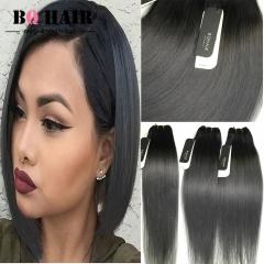 BQ HAIR Grade 8A Brazilian Straight Virgin Human Hair 3 Bundles Natural Extensions 100g/pc 1b dark grey 10 10 10