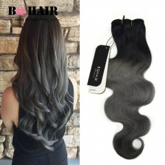 BQ HAIR Grade 8A Ombre Malaysian Virgin Human Hair Body Wave Weaves Soft and Silky 100g/Bundle 1b dark grey 10 inch