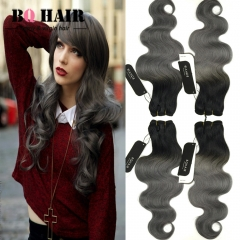 BQ HAIR Grade 8A Ombre 1b-Dark Gray 4 Pieces Brazilian Virgin Hair Body Wave Hair Weaves 100g/pc 1b dark grey 10 10 10 10