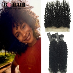 BQ HAIR 8A 360 Lace Frontal and 2 Bundles Kinky Curly Brazilian Hair Full Cuticle Human Hair Weaves natural black 10 10 +10