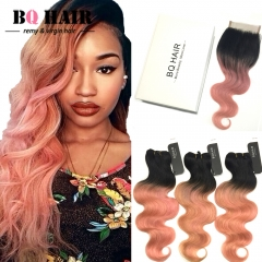 BQ HAIR 8A 3pcs/300G Body Wave Extension Human Hair Weaves and 4*4 Lace Frontal for Mother's Day 1b-rose gold 12 inch 360 lace frontal