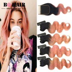 BQ HAIR 8A 1B-Rose Gold Ombre Color Body Wave Dark Root 4Bundles/400g and 4*4 Lace Closure 1b-rose gold 10 10 10 10 +12