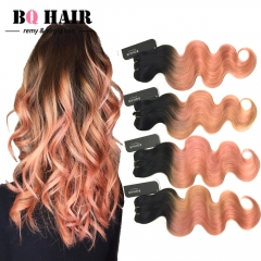 BQ HAIR 8A New Arrival Human Hair Hot Sale Ombre Color 4Bundles/400g for Mother's Day 1b-rose gold 10 10 10 10