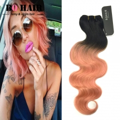 "BQ HAIR 1B-Rose Gold 8A 10""-18"" 100% Brazilian Virgin Ombre Human Hair Body Wave Weaves 100g/Bundle 1b-rose gold 10 inch"