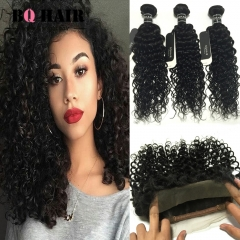 BQ HAIR 8A 3 Bundles Peruvian Deep Curly Virgin Human Hair Weaves 100g/Piece with 360 Lace Frontal natural black 10 10 10 +10