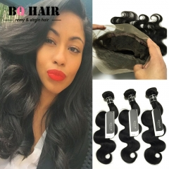 BQ HAIR 8A Malaysian Body Wave Remy Human Hair Weaves 3 Bundles 10 to 28 Inches and 360 Lace Frontal natural black 10 10 10 +10