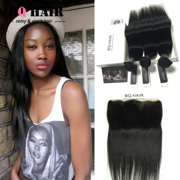 BQ HAIR 8A Straight Brazilian Lace Frontal 13x4 Size with 3 Bundles 100% Human Hair Ear to Ear natural black 10 10 10 +10