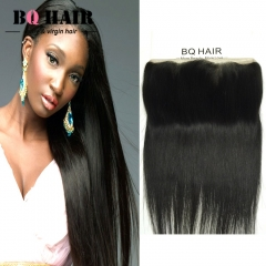 BQ HAIR 8'-22' 13*4 Lace Frontal 8A Remy 100% Virgin Brazilian Human Straight Hair Weave natural black 12 inch lace frontal