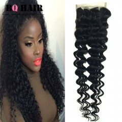"BQ HAIR Grade 8A 100% Unprocessed Virigin Hair Deep Wave Style 4*4 Lace Closure Human Hair (10""~20"") natural black 10 inch lace closure"