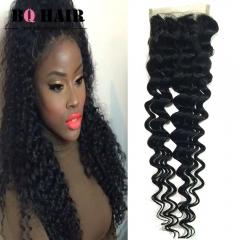 """BQ HAIR Grade 8A 100% Unprocessed Virigin Hair Deep Wave Style 4*4 Lace Closure Human Hair (10""""~20"""") natural black 10 inch lace closure"""