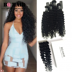 BQ HAIR Grade 8A High Quality Deep Wave 100% Virgin Human Hair 4*4 Lace Closure and 4Bundles/400g natural black 12 14 16 18 +10