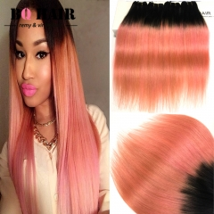 BQ HAIR 10'-18' 8A Remy 1B-Rose Gold Ombre Straight 100% Virgin Brazilian Human Hair Weave 400g/4pcs 1b-rose gold 10 10 10 10