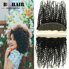 "BQ HAIR 8A Kinky Curly 13*4 Lace Frontal Peruvian Human Hair Ear to Ear 100% Virgin Hair (10""~22"") natural black 12 inch lace frontal"