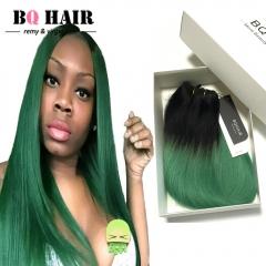 BQ HAIR Grade 8A 100% Human Hair Brazilian Straight Virgin Human Hair 1pc/100g Ombre Color 1b-green 10 inch