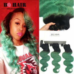 BQ HAIR Ombre 8A Remy Hair 100% Brazilian Virgin Human Hair Body Wave 3 Bundles Extension 100g/pc 1b-green 10 10 10