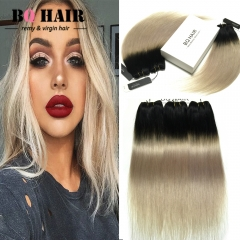 BQ HAIR 8A New Arrival Straight Human Hair Hot Sale Ombre Color 3 Bundles/300g 1b-light grey 10 10 10