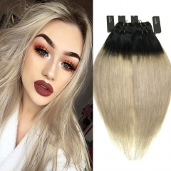 BQ HAIR 8A Ombre Color 100% Peruvian Straight 4 Bundles Virgin Human Hair 100g/Bundle 1b-light grey 10 10 10 10