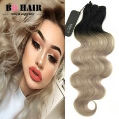 BQ HAIR Grade 8A 100% Human Hair Brazilian Body Wave Virgin Human Hair 1pc/100g Ombre Color 1b-light grey 10 inch