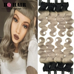 BQ HAIR 8A Ombre Color 100% Brazilian Body Wave 4 Bundles Virgin Human Hair 100g/Bundle 1b-light grey 10 10 10 10
