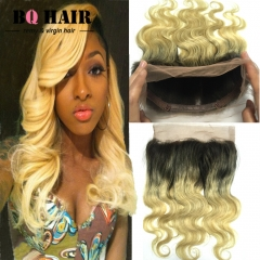 "BQ HAIR 8A 1B-613 360 Lace Frontal Closure Brazilian Ombre Human Hair Pieces Body Wave (10""~20"") 1b-613 10 inch 360 lace frontal"