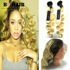 BQ HAIR 8A 1B-613 Dark Root Ombre 100% Virgin Human Hair Body Wave 2 Bundles and 360 Lace Frontal 1b-613 10 10 +10