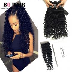 BQ HAIR 8A Remy 100% Brazilian Virgin Human Deep Wave Hair Extension 300g/3pcs and 4*4 Lace Closure natural black 10 12 14 +10