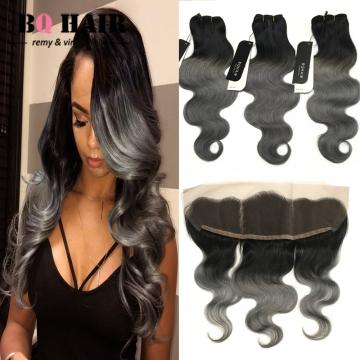 BQ HAIR 8A 100% Human Hair Brazilian Virgin Hair 3pcs/300g with Body Wave Lace Frontal 1b dark grey 12 inch lace frontal