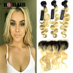 "BQ HAIR Grade 8A 1b-613 Ombre Color Dark Root 13*4 Lace Frontal Virgin Human Hair (10""~22"") 1b-613 12 inch lace frontal"