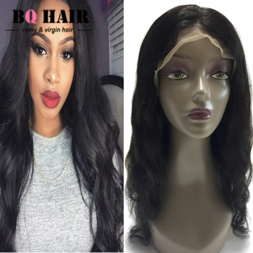 """BQ HAIR Easy to Use 130% Density 100% Virgin Human Hair Body Wave Lace Front Wig (10""""~24"""") natural black 10 inch"""