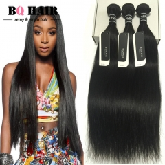 BQ HAIR Grade 8A Virgin Hair Raw Indian Hair 3 bundles soft and silky straight human hair weaves nature black 18 18 18