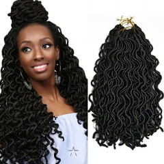 (24Roots/Pack,144Roots /6Pack) BQ 18 Inch Goddess Curly Faux Locs Crochet Hair #1b Black 18inch/6pack