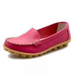 Women Flats Leather Platform Casual Shoes Spring Ladies Shoes Soft Comfortable Shoes Rose red 35