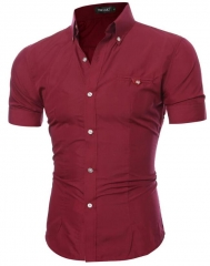 Men Shirt 2017 Male Short Sleeve Hawaiian Shirts Casual Metal Buckle Hit Color Slim Fit Black Mens red 2xl