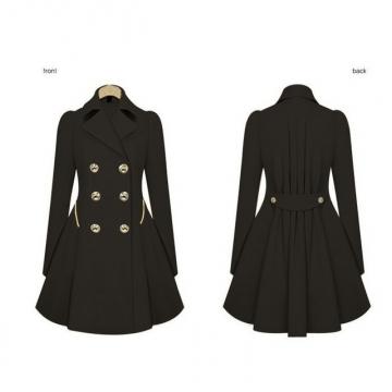 2017 Autumn  Womens Coat Commuter Office OL Slim Fashion Ruffles Windbreaker Double Breasted Trench black L