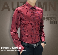 New Arrival Luxury Brand Mens Formal Shirts Long Sleeve Floral Men Shirt Tuxdeo Shirt red XXXL