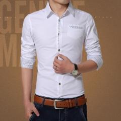 New 2017 Spring Casual Men Shirt Cotton Mens Dress Shirt Solid Slim Fit Shirts white L