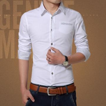 New 2017 Spring Casual Men Shirt Cotton Mens Dress Shirt Solid Slim Fit Shirts white M