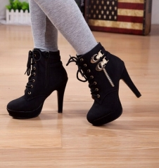 Fashion 2016 Women High Heels Boots Suede Women Ankle Boots Sexy Ladies Motorcycle Boots black 36