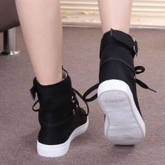 Round Toe Platform High-top Canvas Buckle Shoes Woman Lace Up boots Student Flat Ankle Boots black us 5