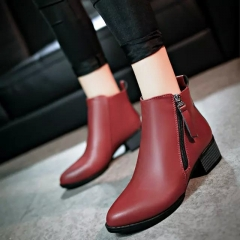 2017 New Fashion Women shoes , Lady's Low heels Rain boots Ladies Vintage Shoes wine red us 4.5