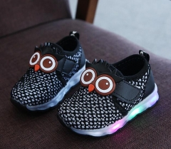 2017 New brand funny cartoon unisex boys girls shoes Pu LED lighted baby kids sneakers black us 9.5