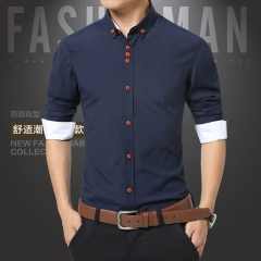 Summer Mens Dress Shirts  Shirt Men Slim Fit Plus Size Long sleeve Stylish Shirt Fashion Plus 01 m