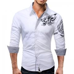 New Men'S Long-Sleeved Dress Shirt Dragons Men'S Casual Slim Lapel Male Quality Large Size white m
