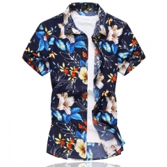 Summer Plus size Short sleeve shirt Men Fashion Elastic Male Hawaiian Casual Shirs 01 m