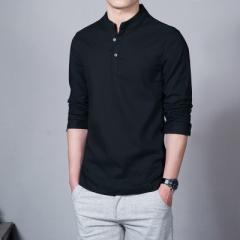 Asian Fashion Long Sleeve Mandarin Collar Mens Shirts Male Casual Linen Shirt Men Plus  Camisas 01 m