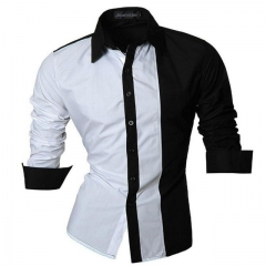 Men Shirt Luxury Brand  Casual Mens Simple Solid Single Breasted Slim Fit Dress Shirts Mens 01 m