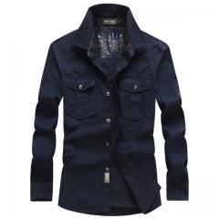 New men  camisa masculina dress shirt men brand fashion camisa denim hombre jeans shirt black m