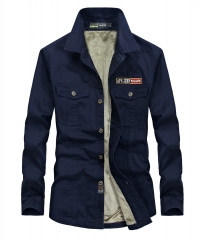 men's winter thicken khaki long sleeve shirt man casual brand 100% cotton army green fleece shirts sky  blue m