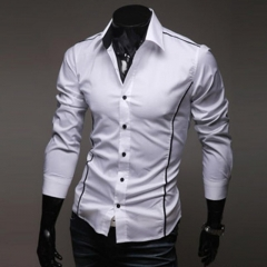 Fashion Top Stitching Style Slim Shirt Men Solid Color Shirt Casual Long-Sleeve Casual Shirt white m